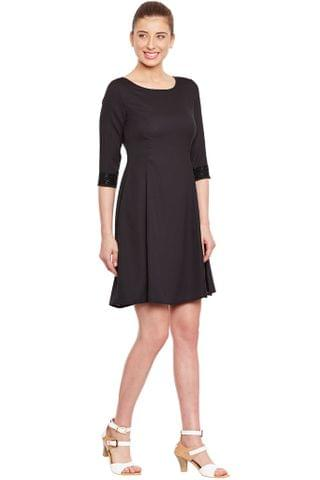 Black Dress With Emblishment At Cuff/ DRF500133
