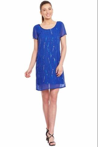 Blue Dress With Emblishment/ DRF500139