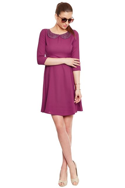 Marsala Dress With Emblidshment At Neck/ DRF500134