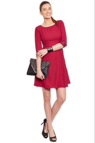 Marsala Dress With Emblishment At Cuff/ DRF500148