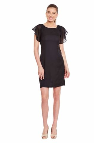 Black Casual Dress In Solid/ DRF500197