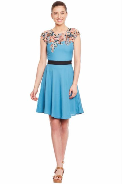 Skater Dress In Blue Color And Assymetrical Printed Yoke With Skalloping At Edges/ DRF500329