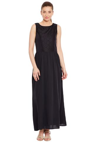 Long Dress In Black Color With Lace At Body Part/ DRF500245