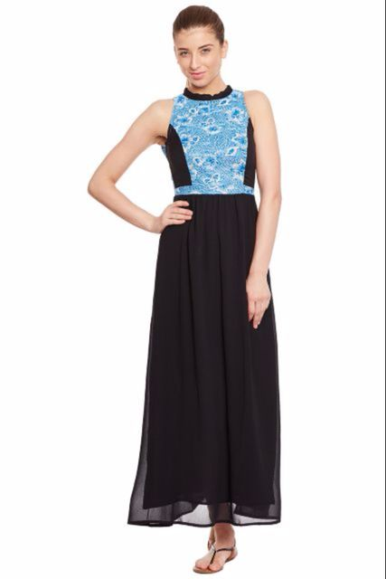 Long Dress In Black Color With Printed Lace At Body Part/ DRF500238