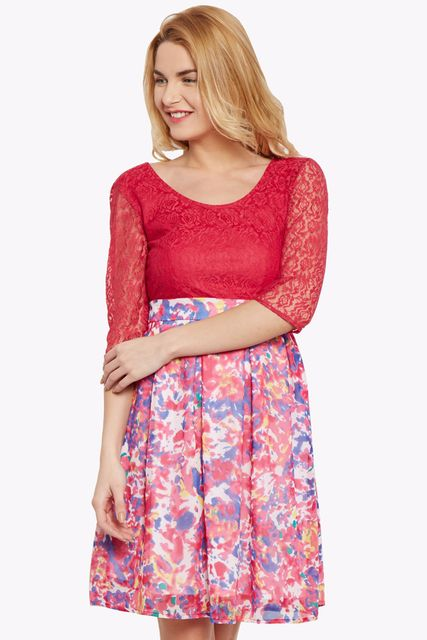 Flared dress in fuchsia color with lace overlay at body part/ DRF500447