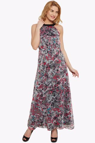 Maxi dress in grey print with back overlap detail/ DRF500454
