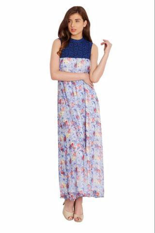 Maxi dress in indigo print with lace overlay/ DRF500476