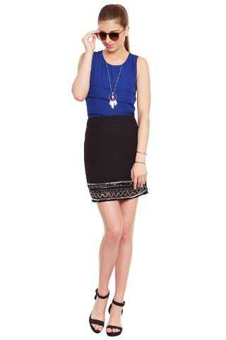 Black Short Skirt With Emblishment At Bottom/ SHF350122