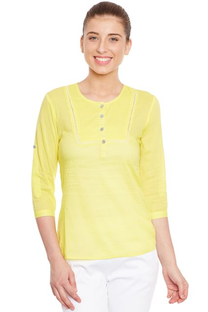 Front button top in lemon color with side slits/ TSF400644