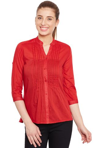 Front pleated top in red color/ TSF400647