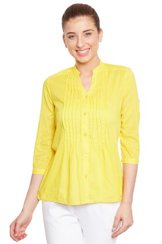Front button down shirt in yellow color/ TSF400648