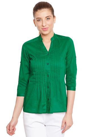 Front button down shirt in green color/ TSF400649