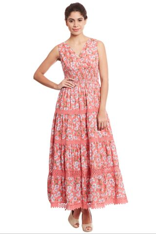 Maxi dress in orange print with overlapped front/ DRF500528