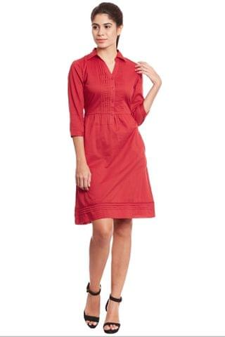 Front button through dress in red color/ DRF500499