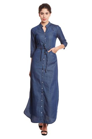 Front button down maxi dress in denim dark blue wash/ DRF500562