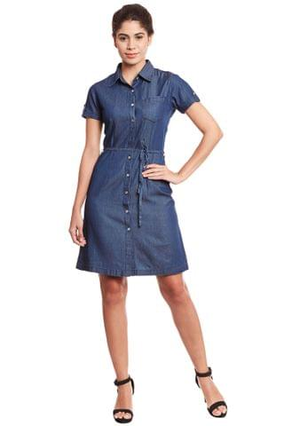 Front button down shirt dress in denim dark blue wash/ DRF500565
