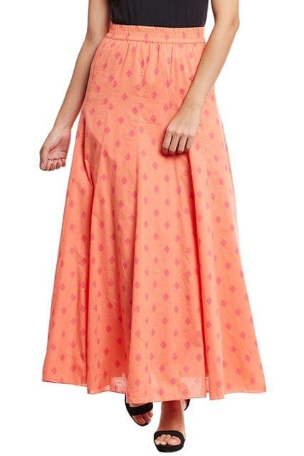 Long flare skirt in orange print/ SKF350150
