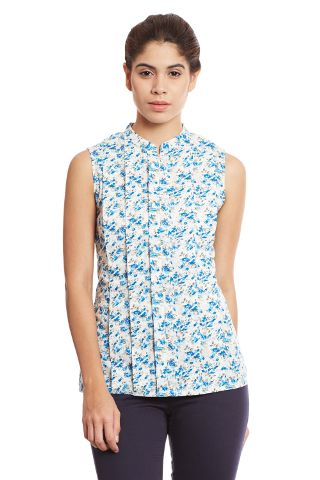 Front pleated top in blue print/ TSF400693