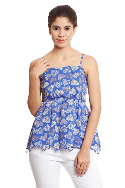 Camisole top in blue print with smocking at the back/ TSF400696