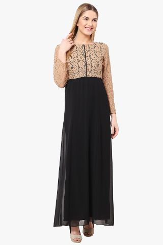 Maxi Dress In Black Color With Lace Fabric At Body Part And Sleeves/ DRF500333