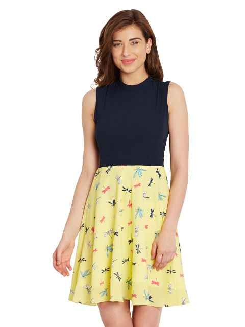 Skater Dress In Yellow Print With A Thin Waist Band/ DRF500543