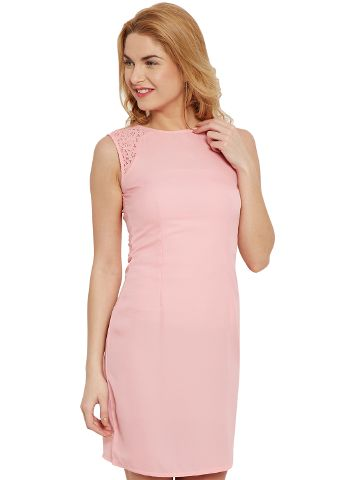 Bodycon Dress In Peach Color With Lace Overlay/ DRF500483