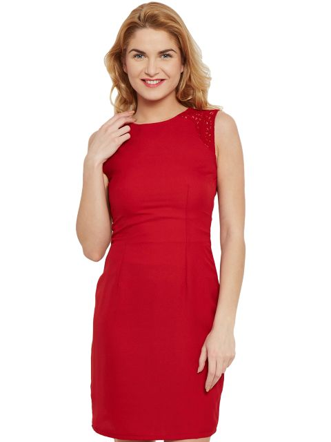 Bodycon Dress In Red Color With Lace Overlay/ DRF500484