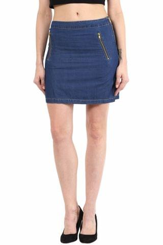 Blue Short Skirt In Denim/ SKF350127
