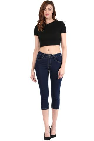 Blue Capri In Denim With Lace At Back Pocket/ TRF350133