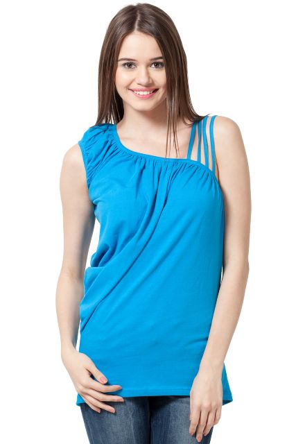 Western Wear Cotton Jersey Top With Asymmetrical Neckline Designer Party Wear/ TSF1621