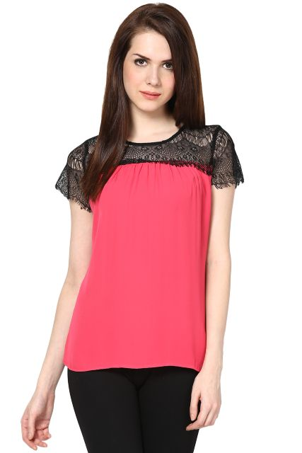 Top With Lace On The Yoke Portion/ TSF2283