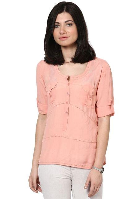 Peach Top In Moss Crepe Fabric/ TSF2677