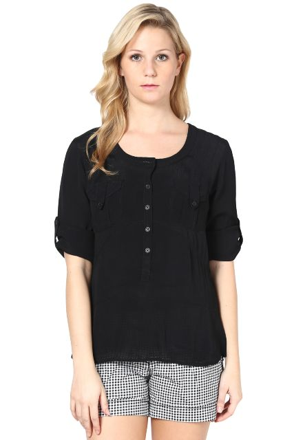 Black Top In Moss Crepe Fabric/ TSF2678