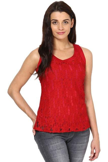Lace Top In Red Color/ TSF2690
