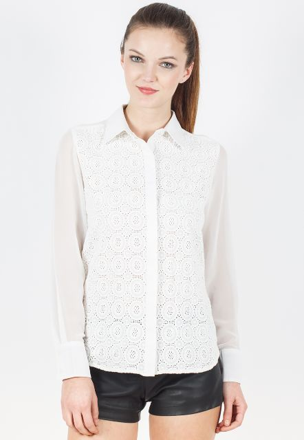 Full Sleeves Shirt With Schiffly Lace/ TSF3411