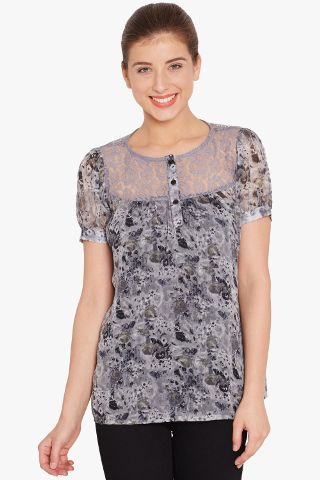 Flared Top In Grey Print With Lace Overlay/ TSF400661