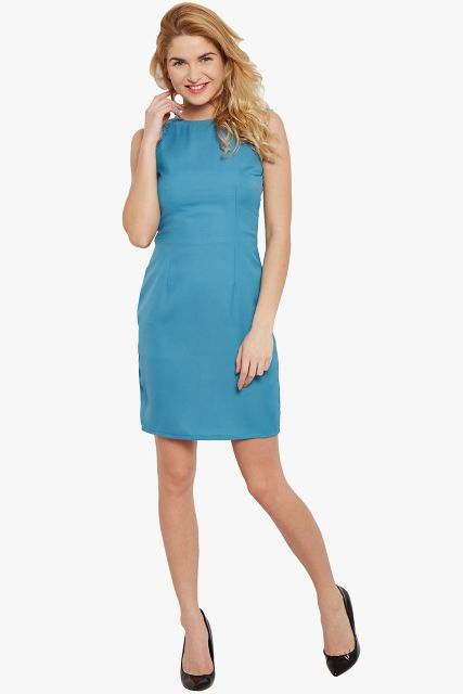 Bodycon Dress In Teal Color With Lace Overlay/ DRF500427