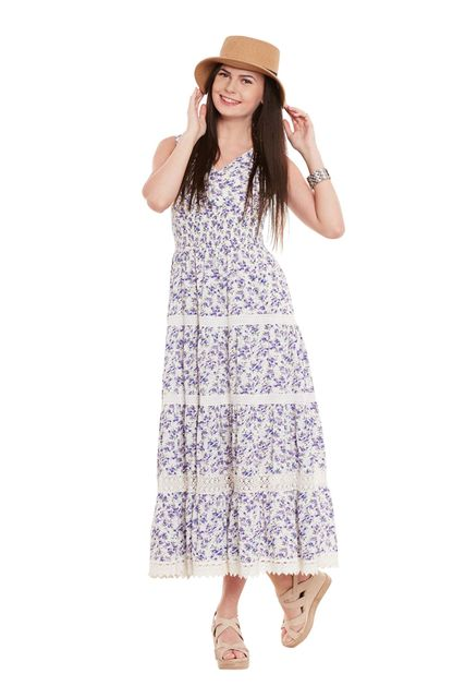 Maxi Dress In Purple Print With Overlapped Front/ DRF500532