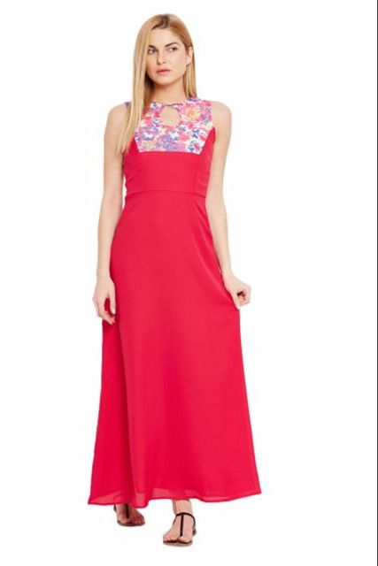 Maxi Dress In Fuchsia Color With Printed  Body Part Detail/ DRF500455