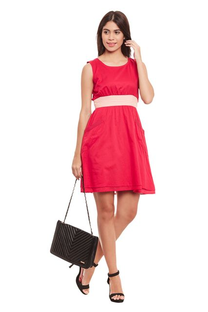 Round Neck Double Layer Dress In Fuchsia Color/ DRF500493