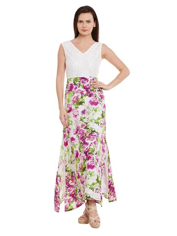 Maxi Dress In Multi Color With Lace At Body Part/ DRF500579