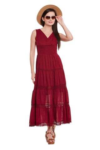 Maxi Dress In Marsala Color With Overlapped Front/ DRF500494