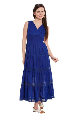 Maxi Dress In Blue Color With Overlapped Front/ DRF500495