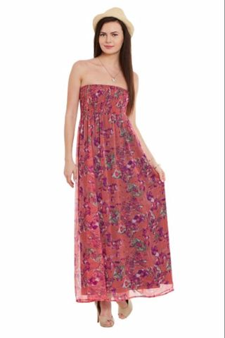 Off Shoulder Maxi Dress In Peach Print With Smocking At Body Part/ DRF500584