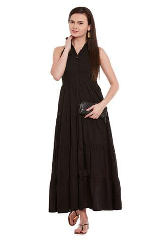 Front Button Down Maxi Dress In Black Color With Half Collar/ DRF500591