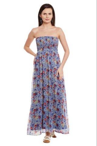 Off Shoulder Maxi Dress In Blue Print With Smocking At Body Part/ DRF500586