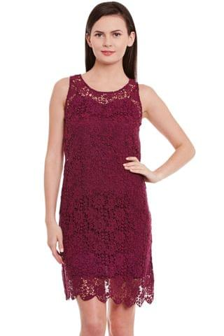 Lace Bodycon Dress In Marsala Color With Scalloped Edges/ DRF500597