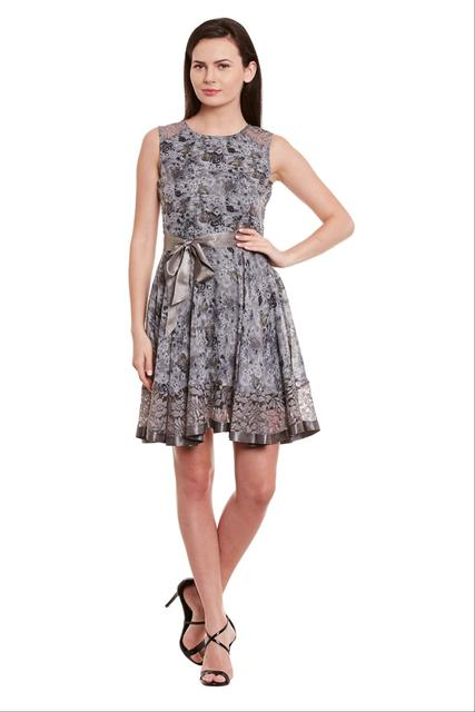 Flare Dress In Grey Print With Lace Overlay At Back/ DRF500587