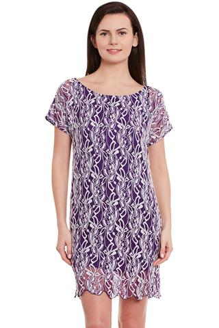 Lace Bodycon Dress In Purple Color With Scalloped Edges/ DRF500598