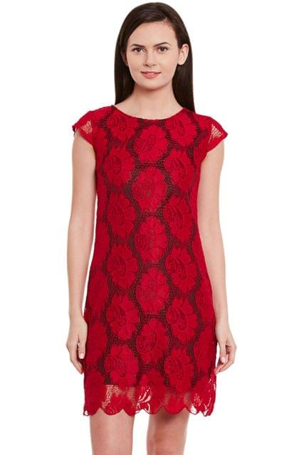 Lace Bodycon Dress In Red Color With Scalloped Edges/ DRF500599